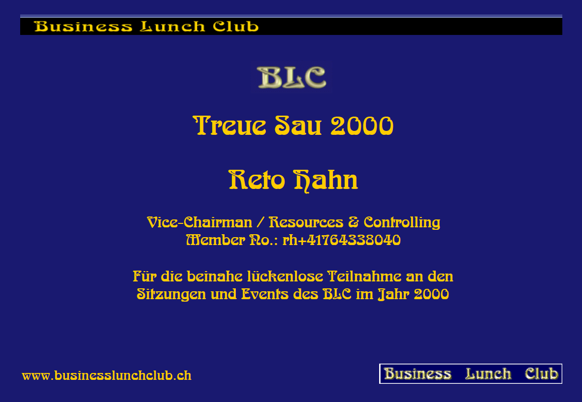 Treue Sau 2000 Reto Hahn